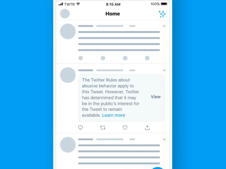discurso del odio desde el Poder: En la imagen se muestra la leyenda que Twitter dejará a todos los usuarios que abusen en su lenguaje